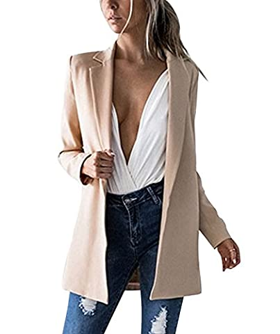 Damen Herbst Blazer New Casual Jacken Ultra Thin OL Langarm Business Set Long Jacket Mantel Coat Outerwear Lang Beige DE 46