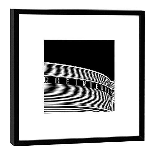 Fotodruck im Holzrahmen - Kunstdruck - Format: 27 x 27 cm - Rahmenfarbe: dunkel - mit Stadtgrafik-Motiv: Düsseldorf, Rheinterrasse