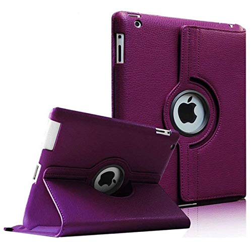 Aavjo 360 Degree Swivel Rotating MultiAngle Stand PU Leather Smart Folio Flip Carry Back Cover for Apple iPad 2 , 3 , 4 (Model -A1460, A1459, A1458, A1416, A1430, A1403, A1397, A1396, A1395) -Purple