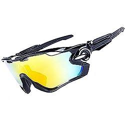 HTTOAR Gafas de Sol Deportivas al Aire Libre protección UV400 Bicicleta Gafas polarizadas, adecuadas para Ciclismo Gafas béisbol Pesca esquí Correr Conducir Gafas (Black and White)