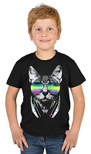 Katzen-Motiv Kindershirt - DJ Sonnenbrille Kopfhörer Katze - buntes Katzenshirt für Kinder : DJ Cat Neon - Tiermotiv Katze Kinder T-Shirt Gr: M = 134-140