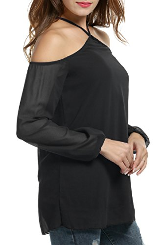 HOTOUCH Damen Neckholder Chiffonbluse Schulterfrei Langarm Casual T-Shirt Blusenshirt Typ1-Schwarz