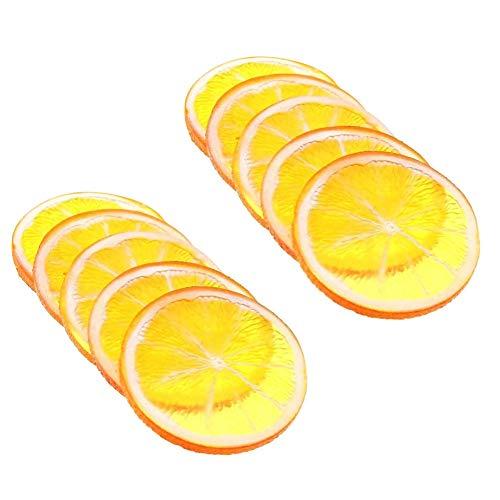 Xiton 10pcs künstliche Zitronen-Scheibe Resin Mini Kleine Simulations-Frucht-Modell Imitation Lemon Block Party Küche Hochzeit Dekoration Red - Scheiben Künstliche Zitrone