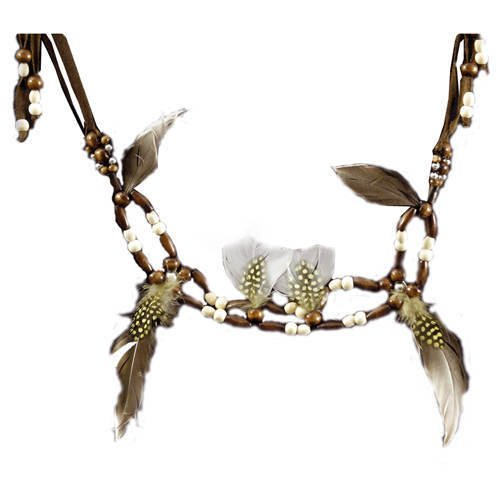 Festartikel Hirschfeld Perlen-Kette mit Federn Indianer braun Einheitsgröße