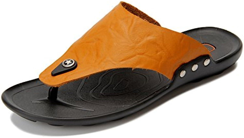 Ruanyi Echtes Leder Thong Flip Flops Schuhe  Komfortable Hause und Outdoor Schuhe Casual Strand Hausschuhe RutschfesteRuanyi Komfortable Hausschuhe Rutschfeste Sandalen