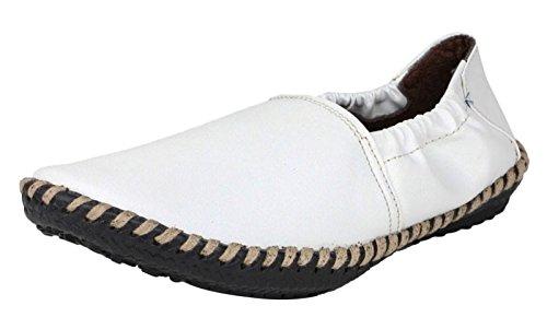 Digni casual conduite pantoufle partie en faux cuir usure glissement des hommes sur les chaussures Blanc