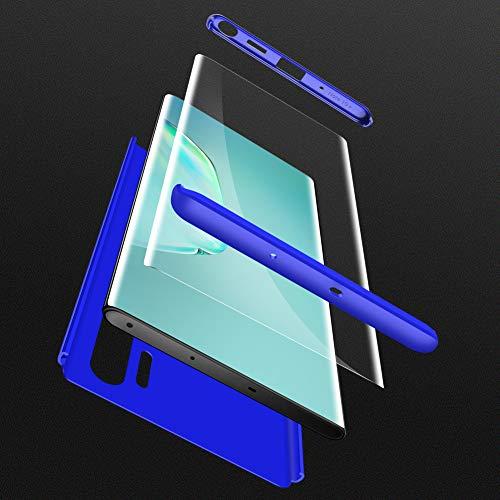 HOJKCY Coque Compatible avec Samsung Galaxy Note 10 Plus,Étui 360 Degree Antichoc Protection Matte PC 3 en 1 Anti-Scratch Full Body Cover Housse Bumper Case +Protège Écran Verre Bleu