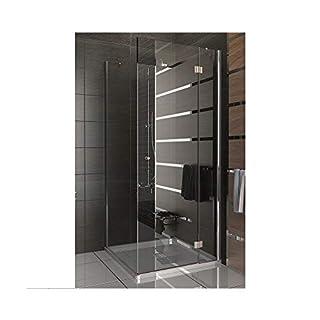 Echtglas Komplette Duschkabine aus ESG Sicherheitsglas mit Lotuseffekt und Eckeinstieg, Duschabtrennung 100x100x195 cm, Fertig Dusche von Alpenberger