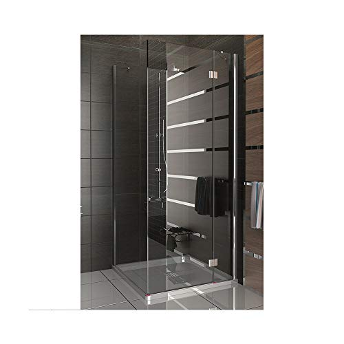 Komplette Duschkabine mit Eckeinstieg 90x90x200 cm, rahmenlose Echtglas Duschkabine mit Dr