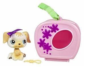 Hasbro - Poupées - PetShop Et Son Sac :  Bebe chienne noeud mauve et sa niche