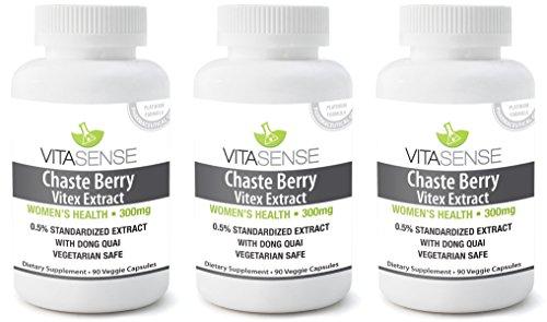 Drei Pack (Packung mit 3) Vitasense Mönchsbeere - Mönchspfeffer Extrakt mit Dong Quai 300mg - Gesundheit für Frauen PLUS - 90 veg. Kapseln
