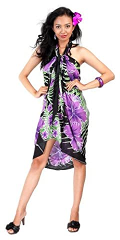 1 World Sarongs Womens Hawaiian Floral Swimsuit Cover-Up Sarong in