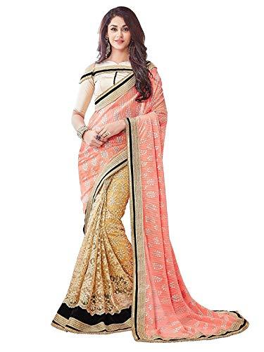 PanashTrends Women\'s Satin Saree (UJJ.K608DE _Pink&Grey_ Free Size)