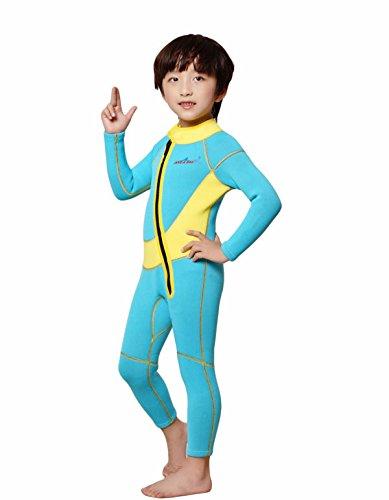 HYSENM Kinder Neoprenanzug Tauchanzug Nassanzug Skins 2,5mm langarm einteilig, Gelb S