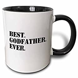 3dRose mug_151497_4 Best Godfather Ever Gifts for God Fathers God Dad Godparents Black Text Two Tone Black Mug, 11 oz, Black/White