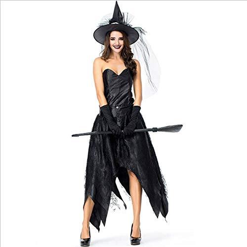 Halloween Frame Kostüm - ASDF Halloween Party Party Kostüm schwarz Tube Top Spinnennetz Hexe dunkle Königin cos