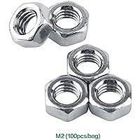 Akozon Tuercas hexagonales SS304 Aguja métrica color plata acero inoxidable Stee(M2-100PCS)