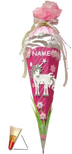 Unbekannt BASTELSET Schultüte - Einhorn 85 cm - incl. Namen - mit Holzspitze - Zuckertüte Roth - ALLE Größen - 6 eckig Mädchen Pferde Blumen Einhörner