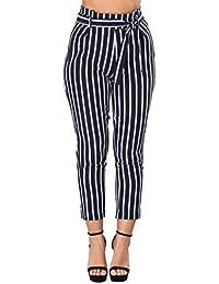 Elegantes Pantalones De Tela Primavera Rayas Verticales con Cinturón con  Lazo Pantalones De Tiempo Libre Largos 1c8bc665c138