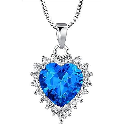 SaySure - 925 Sterling Silver Heart of Ocean pendant