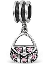 So Chic Joyas - Abalorio Charm bolso de compras bolso Circonita - Compatible con Pandora, Trollbeads, Chamilia, Biagi - Plata 925