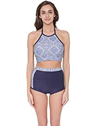 1e05792868 Clovia Women's Padded Printed Halter Top & High Waist Bikini Swimsuit
