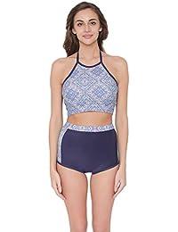 bc391953cf2a8 Clovia Women's Padded Printed Halter Top & High Waist Bikini Swimsuit