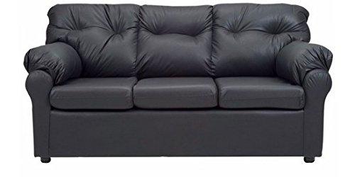 FabHomeDecor Elzada Comfy Three Seater Sofa (Black)