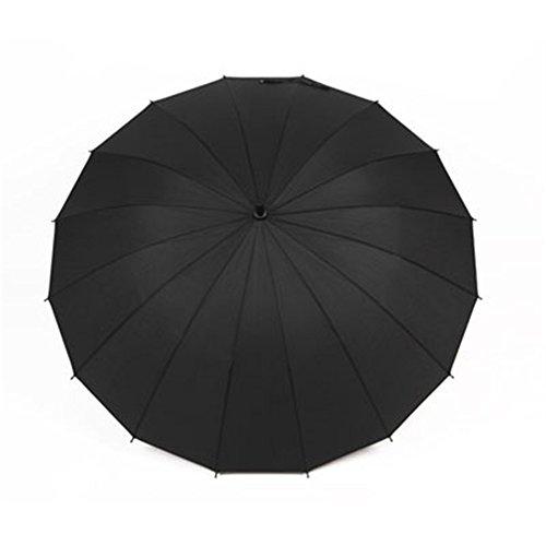 Guoke Herren langen Griff Regenschirm kreative Outdoor Regenschirm Handbuch Doppelschirm großen Regenschirm 16 Knochen winddicht, 16 Knochen - Tinte - schwarz