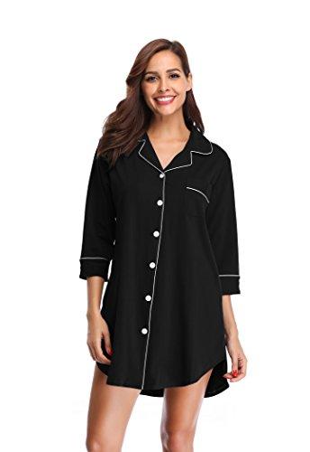 SHEKINI Chemise de Nuit en Coton à Manches 3/4 pour Femmes Robe de Nuit Fit Comfy Vetements de Nuit Flatteur Pyjama (Small, Noir)