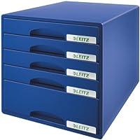 Leitz 52110035 Cassettiera Plus, 4 Cassetti, Blu