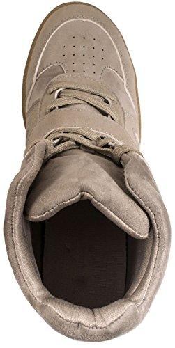 Elara Damen High Top Sneaker | Sportschuh Hidden Wedge | Freizeitschuhe Schnürer Light Grey