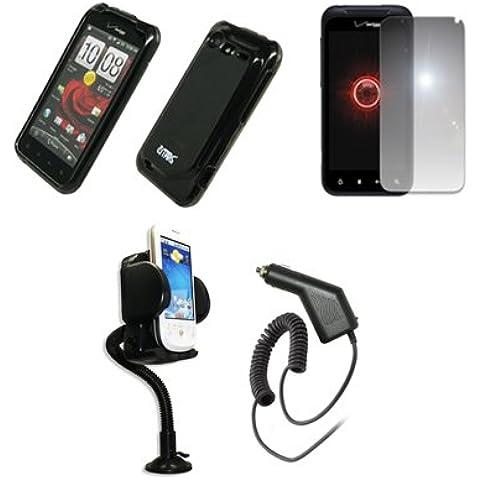 Empire fumo Caoutchouc rigida Housse/Etui Coque + 360gradi girevole supporto per auto con aggancio per bocchette dell' aria + Miroir film de riflettenti di protezione + Chargeur de voiture (CLA) per Verizon HTC Droid incrougeible 2