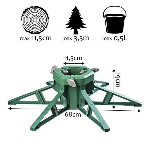KADAX Weihnachtsbaumständer mit Wassertank, moderner Christbaumständer aus robustem Kunststoff für Bäume, Tannenbaumständer, Verschiedene Großen, stabil, grün (Baumhöhe bis 3,5m)