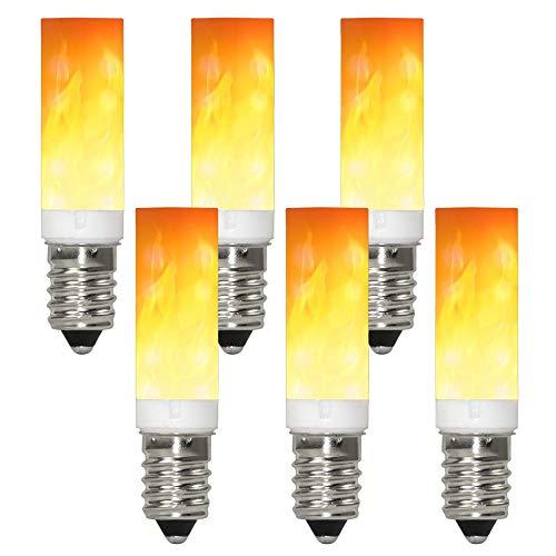 GRANVOO 6-er Pack E14 LED Flammen Lampe PC + Keramik Material 0.5W LED Leuchtmittel Flammenfarbe 10lm 36X2835 SMD AC 220-240V