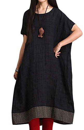 Voguees Women's Vintage Embroidery Printing Hem Dress Schwarz