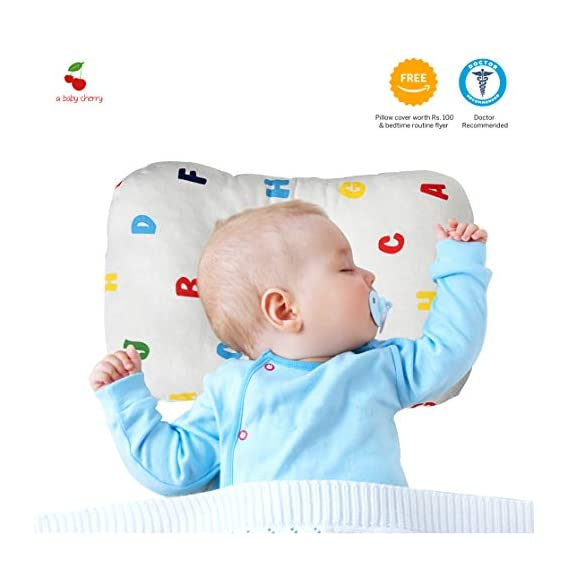 A Baby Cherry Pillow :: Premium Organic Cotton Head Shaping Pillow for Infants and Toddlers (0M to 5 Yr) - Unisex|| Washable|| 3D Air Mesh || Recommended by Pediatrician + Free Pillow Cover