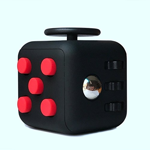 Fidget Cube Relieves Stress And Anxiety, Fidget Toy Fun Cube Anxiety Attention Toy for Children and Adults with ADHD ADD OCD Autism-Black/Red