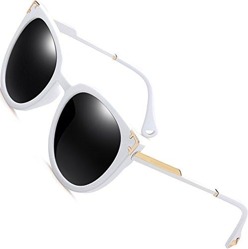 SIPLION Damen Retro Sonnenbrille Schattierungen Übergroße Polarisierte 100% UV Schutz 7605 White