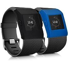 kwmobile 2en1: 2x funda protectora brazalete deportivo para Fitbit Surge sin Tracker en negro azul oscuro