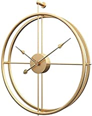 Large Metal Wall Clock Modern Gold Decorative Clock for Living Room Oversize Silent Non Ticking Vintage Europe