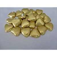 GOLD FOIL CHOCOLATE LOVE HEARTS WEDDING FAVOURS X50