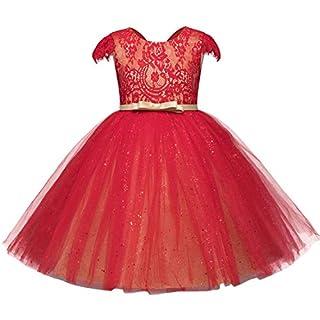 Feicuan Mädchen Kleider Bowknot Lace Prinzessin Kleid Ärmellos Festlich Hochzeits Party