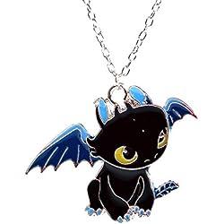 Cómo entrenar a tu dragón - Collar Colgante Night Fury desdentada en esmalte negro - Cartoon Character Collar para niños