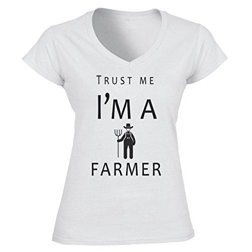 Trust Me I'm A Farmer Damen V-Neck Weiß