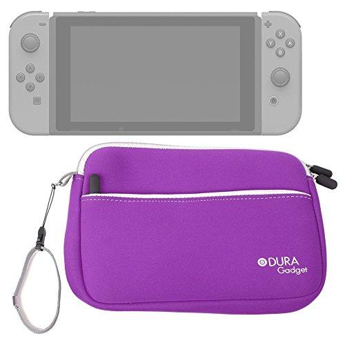 DURAGADGET Funda De Neopreno Morada para Videoconsola Nintendo Switch - con Bolsillo Exterior para Guardar Más Objetos