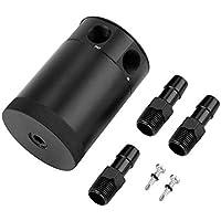 Aleación de aluminio de 3 puertos Baffled Engine Oil Catch Can Depósito Depósito de ventilación con accesorios Accesorios para automóviles - Negro