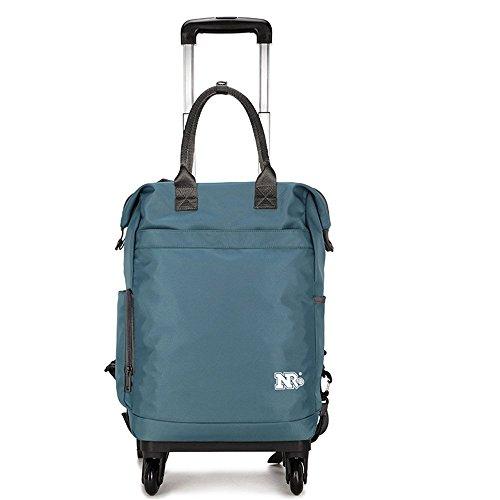 GAOQIANGFENG Neuer fashionFashionRucksack-beiläufige Frauen-Schulter-Beutel-Satz-Handtaschen-Sack-Tasche, Blaue Graue Zugstange, 42 * 30 * 18CM