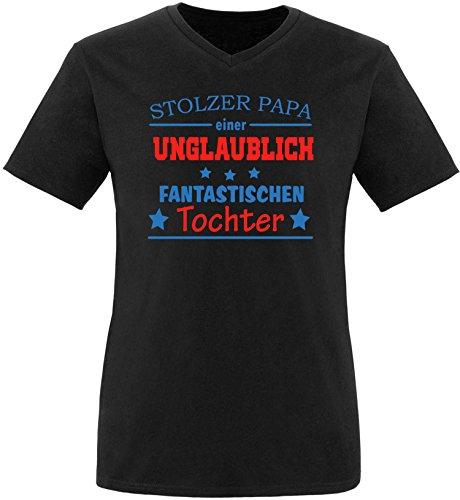 EZYshirt® Stolzer Papa einer unglaublich fantastischen Tochter Herren V-Neck T-Shirt Schwarz/ Blau/ Rot