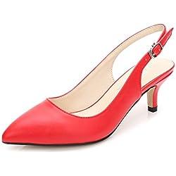 OCHENTA Zapatos de Tacón Clásicos Espigones con Hebillas y Tiras EN La Parte Trasera para Mujer PU Rojo EU 43